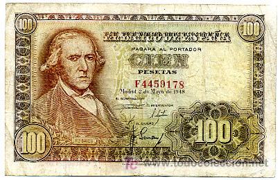 BILLETE 100 PESETAS 1948 BAYEU MBC , SERIE F T178 (Numismática - Notafilia - Billetes Españoles)
