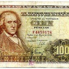 Billetes españoles: BILLETE 100 PESETAS 1948 BAYEU MBC , SERIE F T178. Lote 23610106