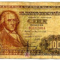 Billetes españoles: BILLETE 100 PESETAS 1948 BAYEU BC+ , SERIE D T004. Lote 27473684