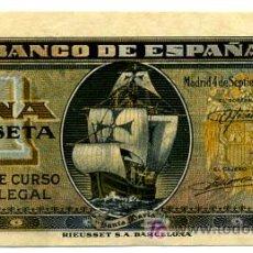 Billetes españoles: BILLETE 1 PESETA , BARCO, 1940 , PLANCHA , SERIE C , T723. Lote 21838212