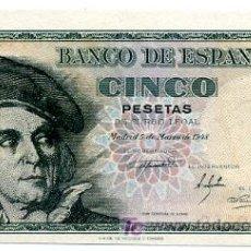 Billetes españoles: BILLETE 5 PESETAS , 1948 , PLANCHA , SERIE A , T119. Lote 27097244