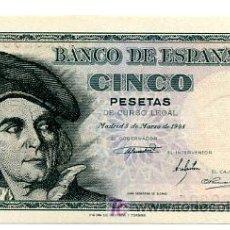 Billetes españoles: BILLETE 5 PESETAS , 1948 , PLANCHA , SERIE G , T006. Lote 22645682
