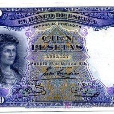 Billetes españoles: BILLETE 100 PESETAS 1931 , MBC+ , SIN SERIE T327. Lote 24977692