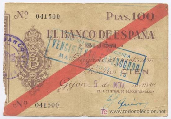 GIJON- 100 PESETAS-05-11-1936 (Numismática - Notafilia - Billetes Españoles)
