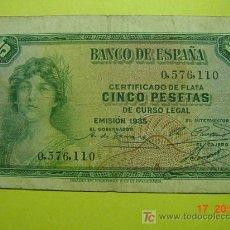 Billetes españoles: 1294 ESPAÑA BILLETE DE 5 PESETAS AÑO 1937 SIN SERIE 2ª REPUBLICA MAS EN MI TIENDA COSAS&CURIOSAS. Lote 5675071