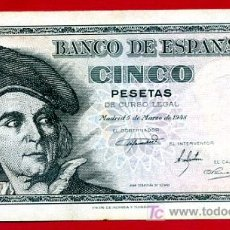 Billetes españoles: BILLETE 5 PESETAS 1948 PLANCHA , SERIE J , T029. Lote 23297782