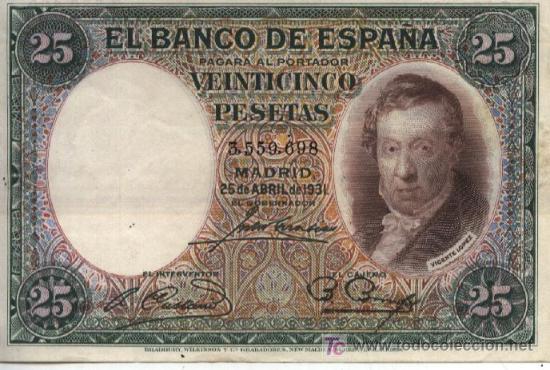 25 PESETAS - MADRID 25 ABRIL 1931 - SIN SERIE - 3559.698 - II REPÚBLICA (Numismática - Notafilia - Billetes Españoles)