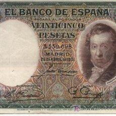 Billetes españoles: 25 PESETAS - MADRID 25 ABRIL 1931 - SIN SERIE - 3559.698 - II REPÚBLICA . Lote 12973092
