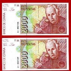 Billetes españoles: TRIO BILLETES 2000 PESETAS 1992 EBC , SERIE 4Y CORRELATIVOS , T108-9-10. Lote 21112032