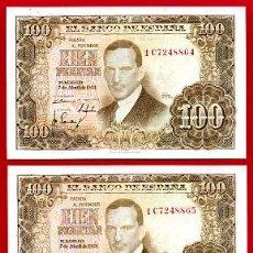Billetes españoles: PAREJA BILLETES 100 PESETAS 1953 EBC CORRELATIVOS , SERIE 1C T864 - 5. Lote 23297761
