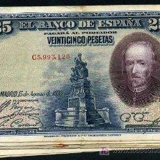 Banconote spagnole: LOTE DE 10 BILLETES 25 PESETAS 1928 MBC , REPUBLICA , ORIGINALES , RB. Lote 210093842