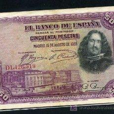 Billetes españoles: LOTE DE 10 BILLETES 50 PESETAS 1928 MBC , REPUBLICA, ORIGINALES , RB. Lote 216440246