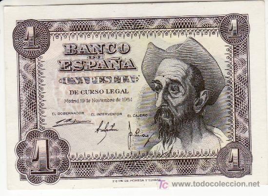 BILLETE DE UNA PESETA. NOVIEMBRE 1951. SIN CIRCULAR. (Numismática - Notafilia - Billetes Españoles)