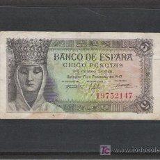 Billetes españoles: BILLETE DE 5 PTS. DE 1943. Lote 20717045
