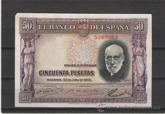 BILLETE DE 50 PTS. DE 1935 (Numismática - Notafilia - Billetes Españoles)