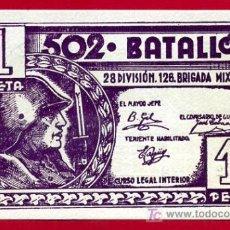 Billetes españoles: BILLELTE 1 PESETA 502 BATALLON , 28 DIVISION - 126 BRIGADA DE REGIMEN INERNO, SIN CIRCULAR. Lote 23610124