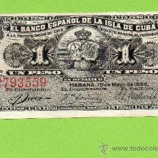 Billetes españoles: 1 PESO. -SC. BANCO ESPAÑOL DE LA ISLA DE CUBA. HABANA. ULTRAMAR. ÉPOCA COLONIAL. COLONIAS.. Lote 27166007