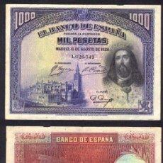 Billetes españoles: ESPAÑA BILLETE DE 1000 PESETAS AGOSTO 1928 MBC++EBC. Lote 27178080