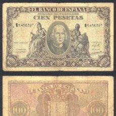 Billetes españoles: ESPAÑA BILLETE DE 100 PESETAS ENERO DE 1940 .CRISTOBAL COLON .RARO. Lote 27375429