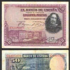 Billetes españoles: ESPAÑA BILLETE DE 50 PESETAS 15 DE AGOSTO DE 1928 .MBC+. VELAZQUEZ. Lote 9133472