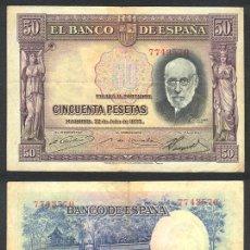 Billetes españoles: ESPAÑA BILLETE DE 50 PESETAS 22 DE JULIO DE 1935 MBC. SANTIAGO RAMON Y CAJAL .7743570. Lote 26970111