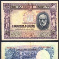 Billetes españoles: ESPAÑA BILLETE DE 50 PESETAS 22 DE JULIO DE 1935 MBC+. SANTIAGO RAMON Y CAJAL .8096403. Lote 27505381