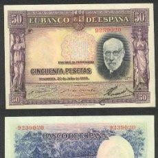 Billetes españoles: ESPAÑA BILLETE DE 50 PESETAS 22 DE JULIO DE 1935 EBC. SANTIAGO RAMON Y CAJAL .9239020. Lote 27375430