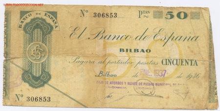 75B- 50 PESETAS-BILBAO-08/01/1937 (Numismática - Notafilia - Billetes Españoles)