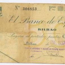 Billetes españoles: 75B- 50 PESETAS-BILBAO-08/01/1937. Lote 1368970