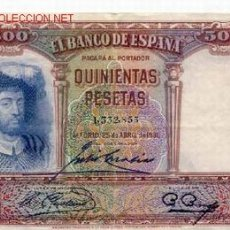 Billetes españoles: BILLETE DE QUINIENTAS PESETAS 1931. Lote 26875529
