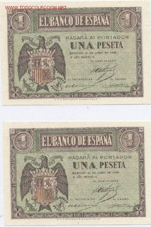 400- 1 PESETA- 30/04/1938 (Numismática - Notafilia - Billetes Españoles)