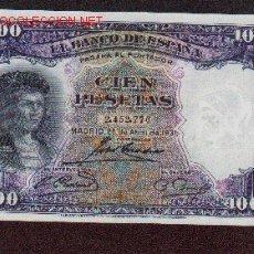 Billetes españoles: 100 PTS DE 1931 MUY BONITO VER REVERSO. Lote 26536984