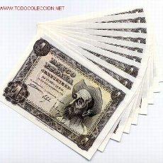 Billetes españoles: LOTE DE 10 BILLETES DE 1 PESETA 1951 , CON SERIE , CORRELATIVOS PLANCHA. Lote 25712651