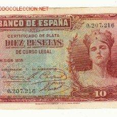 Billetes españoles: II REPUBLICA 10 PTAS. SIN SERIE EMISION 1935 MBC+. Lote 22519019