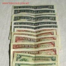 Billetes españoles: LOTE DE 14 BILLETES 5 DE 25 PTAS, 4 DE 10 PTES Y 5 DE 5 PTAS.. Lote 27115715