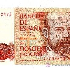 Billetes españoles: 200 PESETAS. LEOPOLDO ALAS CLARÍN. 16 DE SEPTIEMBRE DE 1980.. Lote 79151470