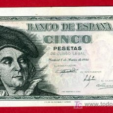 Billetes españoles: BILLETE 5 PESETAS 1948 , PLANCHA , SERIE L ,T135. Lote 21027501