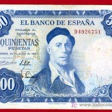 Billetes españoles: BILLETE 500 PESETAS 1954 , MBC+ , SERIE D , T751. Lote 25789987