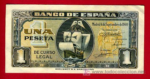 BILLETE 1 PESETA 1940 SEPTIEMBRE, BARCO , EBC+ , SERIE G , T902 (Numismática - Notafilia - Billetes Españoles)