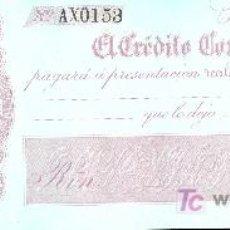 Billetes españoles: PAGARE DEL BANCO EL CREDITO COMERCIAL DE CADIZ. 1860. Lote 12717483