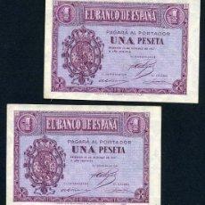Billetes españoles: PAREJA BILLETES 1 PESETA 1937 , PLANCHA , SERIE B , T342-343. Lote 25927836