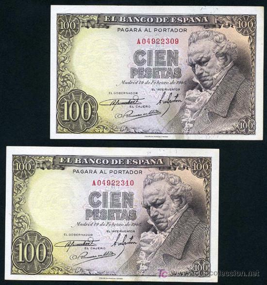 PAREJA DE BILLETES DE 100 PESETAS 1946 , GOYA , EBC++ SIN CIRCULAR , SERIE A , T309-310 (Numismática - Notafilia - Billetes Españoles)