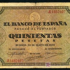 Billetes españoles: BILLETE 500 PESETAS 1938 , MBC- , SERIE A , T497. Lote 24956262