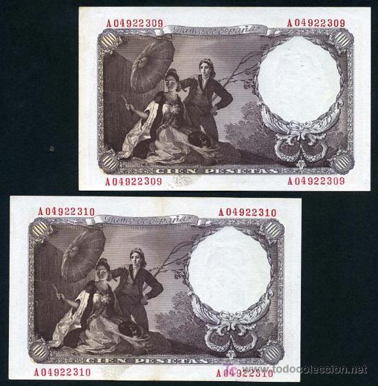 Billetes españoles: PAREJA DE BILLETES DE 100 PESETAS 1946 , GOYA , EBC++ SIN CIRCULAR , SERIE A , T309-310 - Foto 2 - 26347950