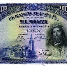 Billetes españoles: 1000 PTS 1 DE JULIO 1928 EBC+ SC. Lote 26811114