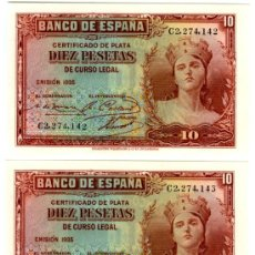 Billetes españoles: 10 PTS 1935 PAREJA PLANCHA LUJO DE TACO. SERIE C. Lote 28154507