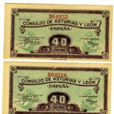 Billetes españoles: 40 CTS 1936 3 CORRELATIVOS PLANCHA. Lote 32792105