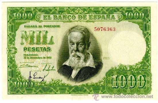 1000 PTS 1951 SIN SERIE EBC+ (Numismática - Notafilia - Billetes Españoles)