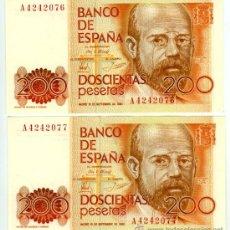Billetes españoles: 200 PTS 1980 SERIE A PAREJA CORRELATIVA PLANCHA. Lote 26875468