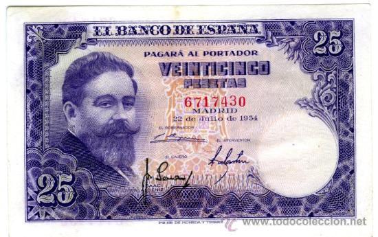 25 PTS 1954 SIN SERIE EBC+ (Numismática - Notafilia - Billetes Españoles)